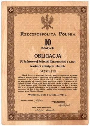 Obligacja 5 % Państwowej Pożyczki Konwersyjnej - 10 złotych 19224