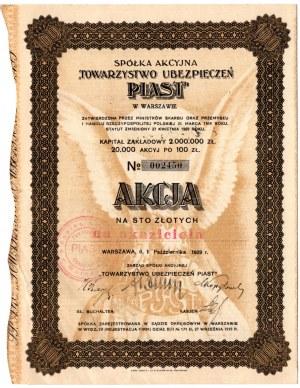 Spółka Akcyjna Towarzystwo Ubezpieczeń PIAST w Warszawie - 100 złotych 1929