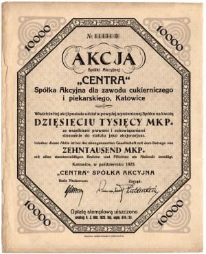 Centra Sp. Akc. dla Zawodu Cukierniczego i Piekarskiego Katowice - 10.000 marek polskich 1923