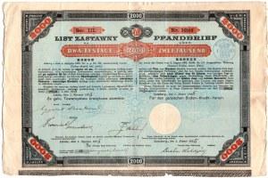 List Zastawny Galicyjskie Towarzystwo Kredytowo Ziemskie - 2000 koron 1895