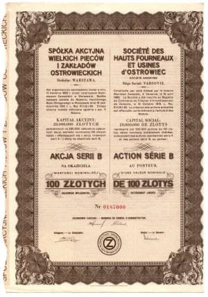 Spółka Akcyjna Wielkich Pieców i Zakładów Ostrowieckich - 100 złotych - imienna