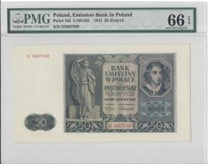 50 złotych 1941 - D - PMG 66 EPQ