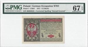 1/2 marki 1916 Generał - PMG 67 EPQ - MAX NOTA