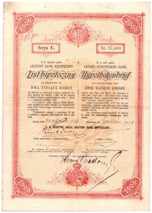 LWÓW - Akcyjny Bank Hipoteczny - List hipoteczny 2000 koron 1908 - Seria C