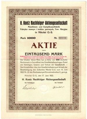 H. Koetz - Fabryka Maszyn i Kotłów Parowych, Tow. Akcyjne - 1000 marek 1922 - akcja ilustrowana w katalogu Leszka Koziorowskiego