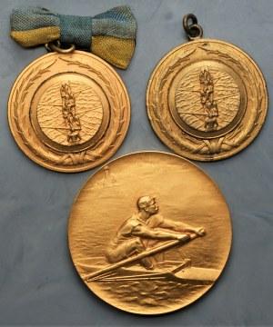 Zestaw 3 medali Wioślarskich - Warszawa 1932, Anvers 1930