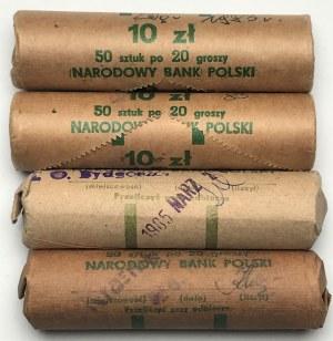 Zestaw 4 rulonów bankowych 20 groszy 1983