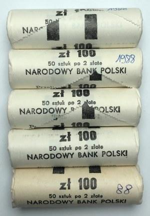 Zestaw 5 rulonów bankowych 2 złote 1988