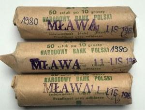 Zestaw 3 rulonów bankowych 10 groszy 1980