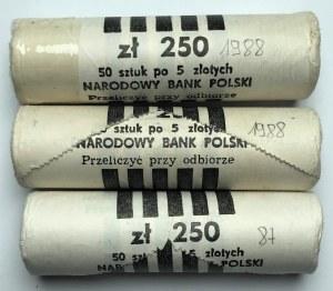 Zestaw 3 rulonów bankowych 5 złotych 1987, 1988