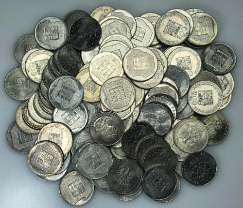 Zestaw 130 srebrnych monet (mapka, olimpiada, faszyzm, Jan Paweł II) - 1172,35 gram czystego srebra