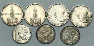 NIEMCY - III Rzesza - zestaw 6 monet - 2 i 5 marek Hindenburg, Kościół