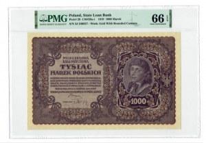 1000 marek polskich 1919 - III Serja J - PMG 66 EPQ