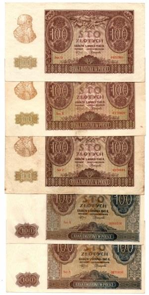 Zestaw 50 złotych 1941, 100 złotych 1940 i 100 złotych 1941 ( 10 sztuk)