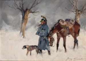 Jerzy Kossak (1886 Kraków - 1955 tamże), Zimowy odwrót spod Moskwy (Kirasjer w trakcie odwrotu spod Moskwy)