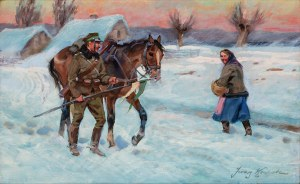 Jerzy Kossak (1886 Kraków - 1955 tamże), Ułan pytający o drogę
