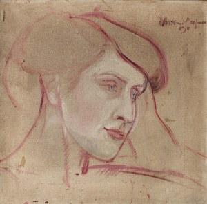 Wlastimil Hofman (1881 Praga - 1970 Szklarska Poręba), Szkic twarzy kobiety, 1911 r.