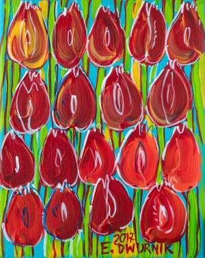 Edward Dwurnik (ur. 1943 Radzymin - 2018 Warszawa), Czerwone tulipany, 2017 r.