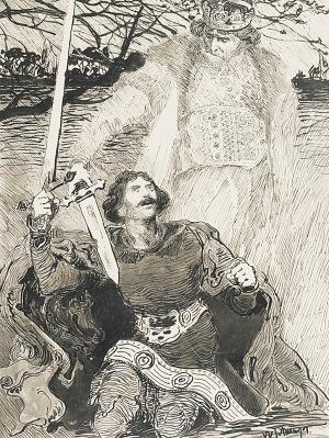 """Włodzimierz TETMAJER (1862-1923), Na kolanach - ilustracja do książki Kazimierza Przerwy Tetmajera """"Anioł Śmierci"""""""