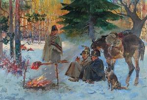 Wojciech KOSSAK (1856-1942), Epizod z odwrotu Wielkiej Armii, 1934