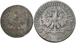 Głowa Kobiety 2 i 5 złotych 1932-34 - falsyfikaty z epoki (2szt)