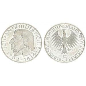 Germany Federal Republic 5 Mark 1964 J 150th Anniversary - Death of Johann Gottlieb Fichte philosoph...