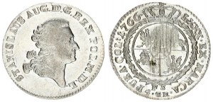 Poland 4 Groschen 1766 FS Stanislaus Augustus(1764-1795). Averse: Crowned bust right. Reverse: Crown...