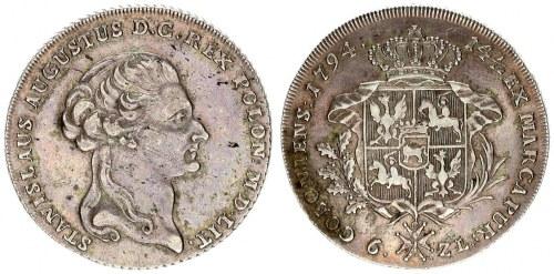 Poland 1 Thaler 1794 Stanisław August Poniatowski (1764-1795). Av .: King's head to the right. Along...