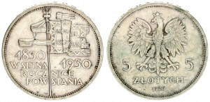 Poland 5 Zlotych 1930 (w) Centennial of 1830 Revolution. Averse: Crowned eagle with wings open flank...