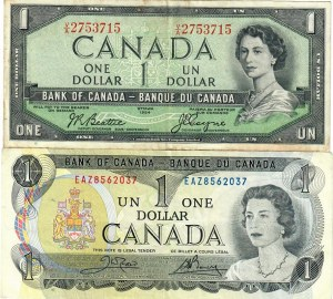 Canada 1 Dollar 1954-1973 KM:75c; KM:85c. Lot of 2 Banknotes