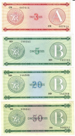 Cuba 3-50 Pesos 1985  (Exchange Certificate) Certificado de Divisa Lot of 4 Banknotes