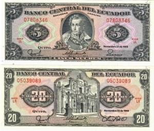 Ecuador 5-20 Sucres 1988 Lot of 2 Banknotes