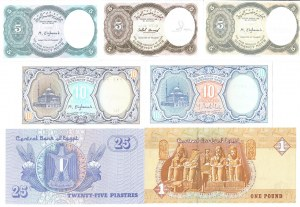 Egypt 5 Piastres - 1 Pound 1940-1980 Lot of 7 Banknotes