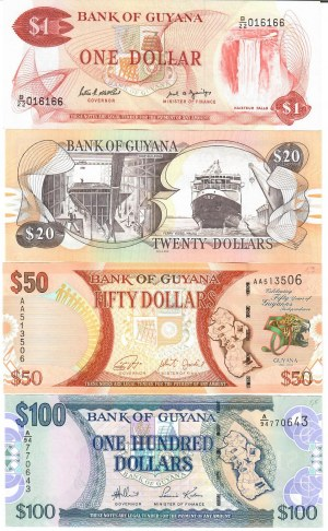 Guyana 1-100 Dollars 1992-2016 Lot of 4 Banknotes