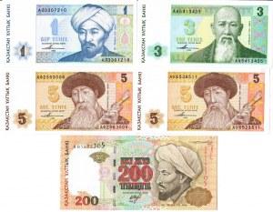 Kazachstan 5-200 Tenge 1993-1999  Lot of 5 Banknotes