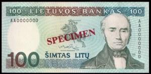 Lithuania 100 Litu Specimen 1991 P#50s