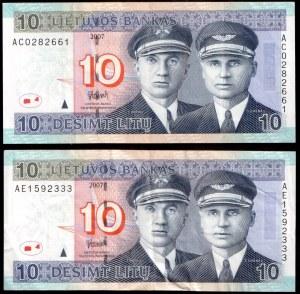 Lithuania Banknote 10 Litu 2007 Pick#68. Lot of 2 Banknotes