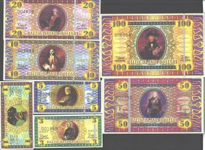 Lithuania Baltic Islands 1-100 Dollars 2007 (Private currency) Lot of 7 Banknotes