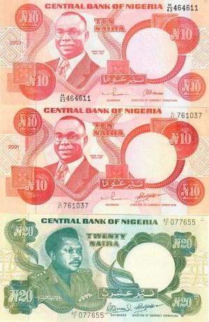 Nigeria 10-20 Naira 1984-2003 Lot of 3 Banknotes