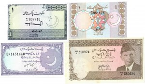 Pakistan 1-5 Rupees Undated 1975-1985  Lot of 4 Banknotes