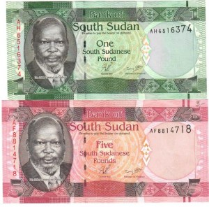 South Sudan 1-5 Pounds 2011-2015 J. Garang de Mabior  Lot of 2 Banknotes