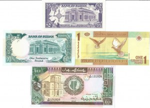 Sudan 25 Piastres 1-100 Pound 1987-2006 Lot of 4 Banknotes
