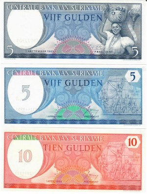 Suriname 5-10 Gulden 1963-1982  Lot of 3 Banknotes