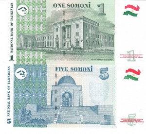 Tajikistan  1 & 5 Somoni 1999 Lot of 2 Banknotes