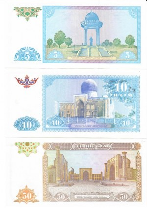 Uzbekistan 3-50 Sum 1994 Lot of 3 Banknotes