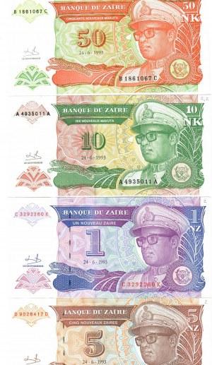 Zaire 1-50 Makuta 1993 Lot of 4 Banknotes