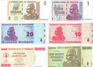 Zimbabwe 1-500 000 000 Dollars 2007-2008 Lot of 6 Banknotes