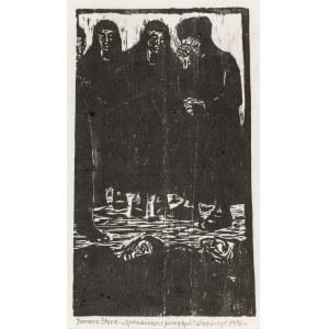 Stern Jonasz (1904-1988), Opłakiwanie poległych, 1936 Drzeworyt, bibuła; wym.: