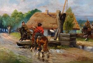 Jerzy Kossak (1886 Kraków - 1955 Kraków), Potyczka przy studni, 1936
