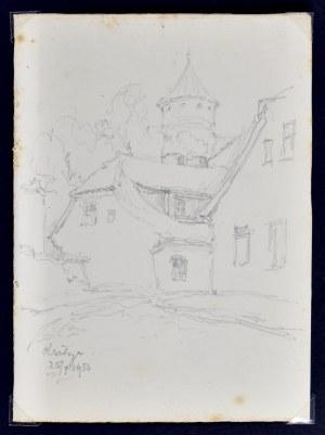 Józef Pieniążek (1888-1953), Widok na wieżę zamkową w Olsztynie, 1950 r.